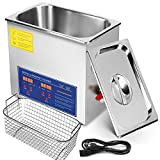 Mophorn Ultrasonic Cleaner 6L Total 380W Commercial Ultrasonic Cleaner Professional Stainless Steel Industrial Ultrasonic Cleaner Jewelry Cleaner with Heater Timer(6L)