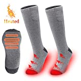 YIZRIO Heated Socks,2200MAH Electric Rechargeable Battery Socks for Men&Wome,Winter Warm Cotton Crew Socks for Outdoor Fishing Hiking Hunting