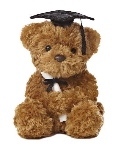 Aurora World Plush Graduation Bear, Black Cap, 8.5'