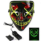 PETUOL Halloween LED Mask Scary Glowing EL Wire Light Up Pouting Mask for Festive Party Costumes Black/Green