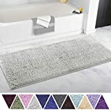 ITSOFT Non-Slip Shaggy Chenille Soft Microfibers Bathroom Rug with Water Absorbent, Machine Washable, 21 x 47 inch Light Gray