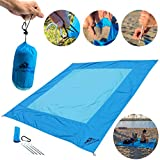Big Blue Beach Blanket by AIO- Water, Sand, Wind Resistant - Parachute Nylon - Lightweight, Portable in It's Personal Carry Bag - One of The Best Blankets for a Summer Picnic by The Ocean!