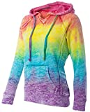 Koloa Surf Co.(tm) Womens Rainbow Stripe V-Neck Burnout Hoodies - Medium