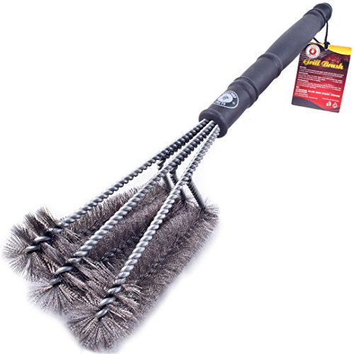 Alpha Grillers 18' Grill Brush. Best BBQ Cleaner. Safe For All Grills. Durable & Effective. Stainless Steel Wire Bristles And Stiff Handle. A Perfect Gift For Barbecue Lovers.
