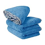 Buff Detail Microfiber Car Towels | 400 GSM | 80/20 Blend | Tagless | Soft Satin Piped Edges | All-Purpose Auto Detailing - Wax, Buff, Polish, Wash, Dry | 16'x 24' | 3 Pack (Blue)