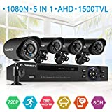 FLOUREON House Security Camera System 1080N DVR + 4 Pack 1.0MP CMOS Lens CCTV Security Camera 1500TVL Night Vision Remote Access Motion Detection (8CH+ 4X 1500TVL Camera)