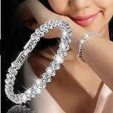 Hemlock Woman Crystal Diamond Bracelets, Valentine's Chain Bracelet Lovers Gifts (Silver)