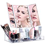 VICOODA Makeup Vanity Mirror with 21 Led Lights/Lighted Makeup Mirror with Acrylic Makeup Organizer, Touch Screen Dimming, Trifold 3X 5X Magnification Sections, Dual Power Supply, 180 Rotation