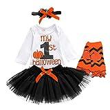 4Pcs Baby Girls My 1st Halloween Outfits Pumpkin Print Romper+Bow Tutu Dress+Headband+Leg Warmers Skirt Set (White+Black, 9-12 Months)