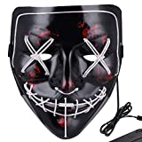 Anroll Halloween Mask LED Light Up Mask for Festival Cosplay Halloween Costume White