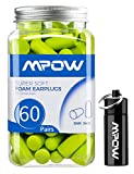 Mpow Earplugs 60 Pairs for Small-Sized Ears, SNR 34dB Soft Foam Ear Plugs, Noise Reduction Hearing Protection for Sleeping, Working, Shooting, Constructing, Snoring, with An Aluminum Carry Case-Green