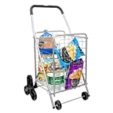 Deluxe Stair Climber Grocery Cart – Supenice (SN7510) Folding & Portable Shopping Cart with Tri-Wheels, 66 LBS Capacity, Light Weight Trolley for Shopping, Camping, Home