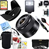 Sony (SEL35F18 35mm f/1.8 Prime Fixed E-Mount Lens + 64GB Ultimate Filter & Flash Photography Bundle