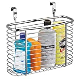 InterDesign Axis Metal Over the Cabinet Storage Organizer, Waste Basket, for Aluminum Foil, Sandwich Bags, Cleaning Supplies, Garbage Bags, Bath Supplies, 5' x 11' x 9.75', Chrome