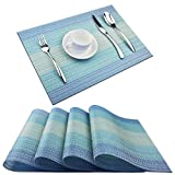 Pigchcy Placemats,Washable Vinyl Woven Table Mats,Elegant Placemats for Dining Table Set of 4(18'X12',Navy Blue)