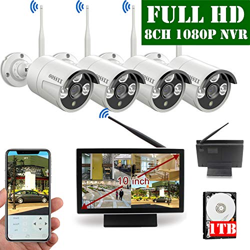 【2020 Update】 10 inch Screen HD 1080P 8-Channel Outdoor Wireless Security Camera System,4pcs 1080P Wireless IP67 Weatherproof IP Cameras,70FT Night Vision,P2P,App, 1TB Hard Drive Pre-Installed