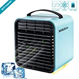 Mini Negative Ion Air Conditioning Fan Personal Space Air Cooler Humidifier Purifier 3 in 1 Evaporative Cooler USB Rechargeable Mini Cooling Desktop Fan with LED Light 3 Speeds
