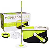 MOPNADO - Deluxe Stainless Steel Rolling Spin Mop System with 2 Replacement Microfiber Mop Heads and Brush Attachment - Walkable with Wheels - Perfect For All Floor Types - Home and Commercial Use