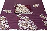 Traditional Embroidered Taffeta Silk George Fabric/Wrapper with Matching Blouse MW1022 (Wine)