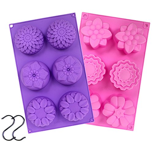 2- 6 Cavity Silicone Flower Soap Mold