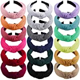 SIQUK 18 Pieces Top Knot Headband Wide Turban Headband Cloth Cross Knot Headbands for Women and Girls