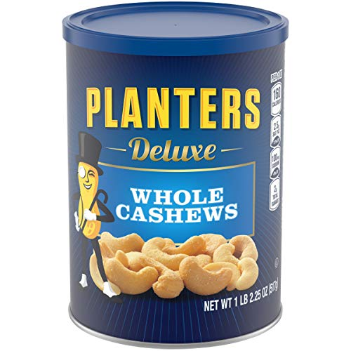PLANTERS Deluxe Whole Cashews, 18.25 oz. – Wholesome Snack Roasted in Peanut Oil with Sea Salt – Nutrient-Dense Snack & Good Source of Magnesium