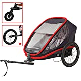 Hamax Outback Multi-Sport Child Bike Trailer + Stroller +Jogger (Two Seats, Charcoal/Red)