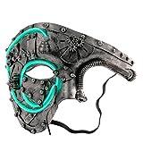 Light Up Mask, Coxeer Men's Phantom Of The Opera Masquerade Mask Halloween Half Face Mask Vintage Design (Silver)