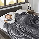 Beautyrest Elect Electric Blanket with Two 20 Heat Level Setting Controllers, Twin, Grey