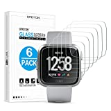 [6 Pack] OMOTON Screen Protector for Fitbit Versa (2018)/Versa Lite Edition - Tempered Glass Screen Protector for Fitbit Versa (2018)/Versa Lite Edition Watch [NOT for Versa 2] [NOT Full Coverage]
