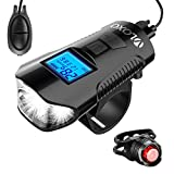 VLOXO Bicycle Speedometer Bike Light Odometer Waterproof Bicycle Computer with LCD Display Multi - Function Cycling Headlight and Taillight Loud Electric Bike Alarm Bell