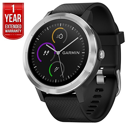 Garmin 010-01769-01 Vivoactive 3 GPS Fitness Smartwatch (Black & Stainless) + 1 Year Extended Warranty
