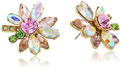 51Vq65Hek8L Items that are handmade may vary in size, shape and color flower studs with mixed multi-colored faceted stones and gold tone details
