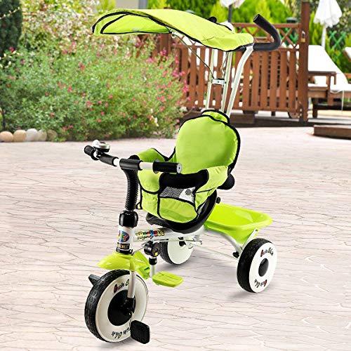 Costzon 4-in-1 Kids Steer Tricycle Stroller Bike w/Canopy Basket (Single Tricycle, Green)