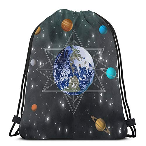 Drawstring Bag Bundle Backpack Cinch Sacks Bulk Sackpack Outer Nebula Cluster The Earth Theme Home School Hiking Travel Bag
