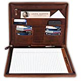Rustic Town A4 Leather Padfolio - Leather Portfolio Letter Pad Size - iPad Organizer Folder for Men and Women (Brown)
