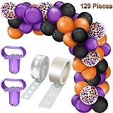 129 Pieces Halloween Balloon Garland Kit, include Black Orange Purple Latex Balloons Confetti Balloons, Balloon Tie Tools, Balloon Strip Tape, Adhesive Dots for Halloween Party