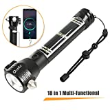 Otdair LED Flashlight Solar Power Tactical Flashlight,Ultra Bright Flashlight,Safety Hammer,High Lumens Tactical,USB Rechargeable,5 Modes for Outdoor,Camping,Hiking