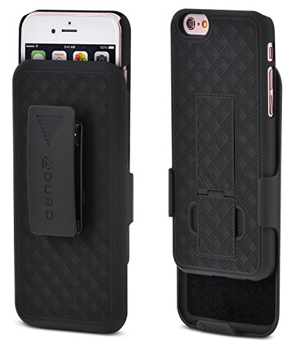 Aduro iPhone 6S / 6 Case, Combo Shell & Holster Case Super Slim Shell Case w/Built-in Kickstand + Swivel Belt Clip Holster for Apple iPhone 6S / 6