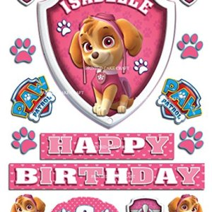 Edible Personalised PAW Patrol Badge Skye Icing Cake Topper Happy Birthday 51VuAhROxTL