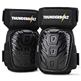 Knee Pads for Work by Thunderbolt with Heavy Duty Foam Cushioning and Gel Cushion Perfect for Construction, Flooring and Gardening with Adjustable Non-Slip Straps