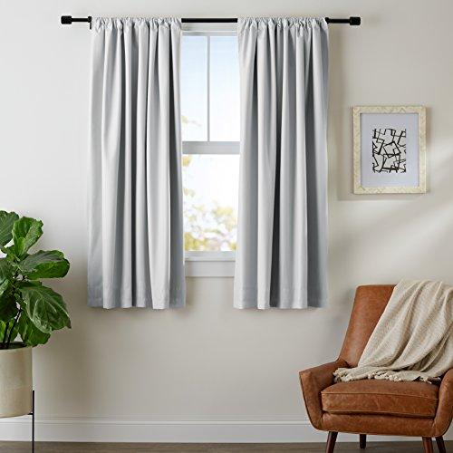 AmazonBasics Room Darkening Blackout Curtain Set with Tie Backs - 52' x 63', Light Grey