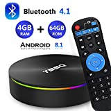 Android 8.1 TV Box, [2019 Updated Edition] Smart Android TV Box Media Player Quad-Core Amlogic S905X2 4GB RAM 64GB ROM Support 5.8G/ Band WiFi/H.265/ BT4.1/ USB 3.0/ 1000M LAN/ 3D/4K Ultra HD