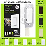 GE Enbrighten Z-Wave Plus Smart Dimmer Switch, Full Dimming, In-Wall, Incl. White and Lt. Almond Paddles, Repeater/Range Extender, Zwave Hub Required, Works with SmartThings, Wink, Alexa, 14294