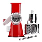 KEOUKE Rotary Cheese Grater Handheld - Nut Chopper Grinder Salad Shooter Vegetable Slicer with a Stainless Steel peeler (Red)