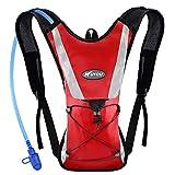 KUYOU Hydration Pack Water Rucksack Backpack Bladder Bag Cycling Bicycle Bike/Hiking Climbing Pouch + 2L Hydration Bladder,(Red+Water Pouch)
