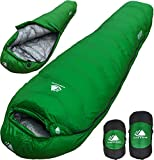 0 Degree Backpacking Sleeping Bag - Zero F Ultralight Mummy Bag for Cold Weather, Lightweight Synthetic Goose Down Like 625 Fill Power Bag For Men and Women Winter Camping (Forest Green, Regular)