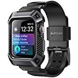SUPCASE Rugged Protective Case for Apple Watch 4, 44mm 2018, with Strap Bands for Apple Watch Series 4 [Unicorn Beetle Pro] (Black)
