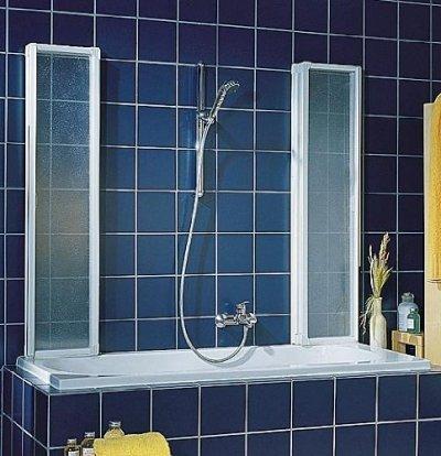 Schulte D1700 Badewannenfaltwand Badewannenaufsatz Duschwand 2x3-tlg. 2x1040x1400, Echt- + Kunstglas