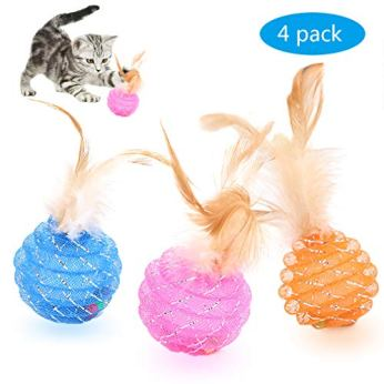 Fun-Meows-Interactive-Cat-Ball-Toys-with-FeatherThe-Best-Brightly-Colored-Cat-Toys-with-BellsHealth-Sport-for-Your-CatHour-of-EntertainmentSafe-for-Your-KittyPack-of-4